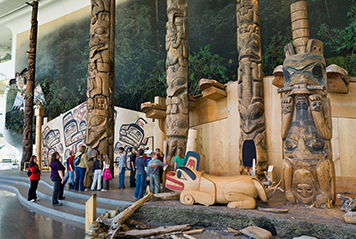 Jeunes observant les totems au Musée d'Histoire
